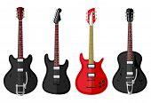 stock photo of fret  - Set of isolated vintage guitars - JPG