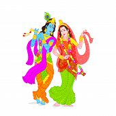 stock photo of krishna  - easy to edit vector illustration of Lord Krishna and Radha - JPG