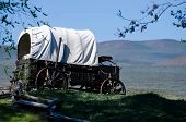 image of covered wagon  - Covered Wagon At The Edge Of The Desert