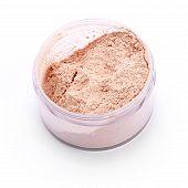 stock photo of face-powder  - Beige face powder isolated on white background - JPG