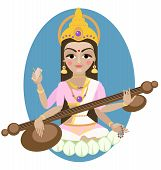 stock photo of tridevi  - Hindu Goddess Saraswati - JPG