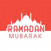 stock photo of ramadan mubarak card  - Greeting Card design with white silhouette of mosque and stylish text Ramadan Kareem on pink and white background - JPG