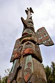 image of totem pole  - North American Indian wooden totem pole - JPG