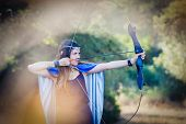 elven wood princess shooting bow and arrow poster