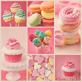 stock photo of popsicle  - Collage of photos with pastel colored cupcakes and meringue - JPG