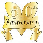 image of 50th  - 50th anniversary heart in gold with scroll text isolated on a white background - JPG