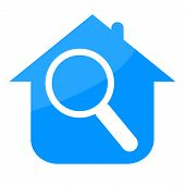 picture of overhauling  - House and magnifying glass isolated on white background - JPG