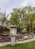 stock photo of kiev  - Public garden in Kiev in the Japanese style done in honor of the sister city of Kiev Kyoto spring - JPG