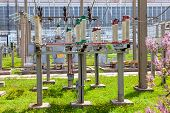 stock photo of substation  - High voltage power substation in sunny day - JPG
