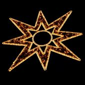 image of weihnacht  - Illuminated Christmas Star Decoration on Black at a Christmas Market (Weihnachtsmarkt) in Germany