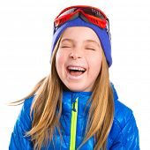 image of crazy hat  - Crazy laughing funny blond kid girl with winter snow equipment hat and goggles - JPG