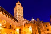 stock photo of nightfall  - Aragon Teruel Cathedral Mudejar Santa Maria Mediavilla Unesco heritage in Spain - JPG