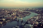 pic of bridges  - London rooftop view panorama at sunset with urban architectures and Thames River - JPG