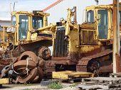 image of scrap-iron  - Old scrap iron bulldozer vehicles and parts - JPG
