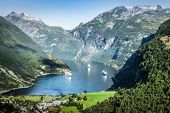 picture of fjord  - Geiranger fjord panoramic view Norway - JPG