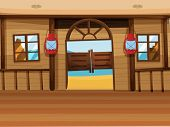 pic of lamp shade  - Illustration of a saloon bar with two lamps - JPG