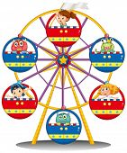 stock photo of carnival ride  - Illustration of a carnival ride with monsters and kids on a white background - JPG