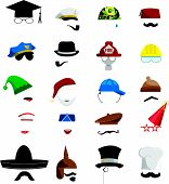 pic of bowler hat  - vector set of various invisible men with hats - JPG