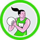 foto of netball  - Illustration of a netball player catching rebounding ball set inside circle on isolated white background done in cartoon style - JPG