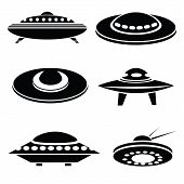 pic of starship  - illustration withsilhouettes of spaceships on a white background for your design - JPG