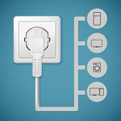 picture of electric socket  - Electrical plug closeup - JPG