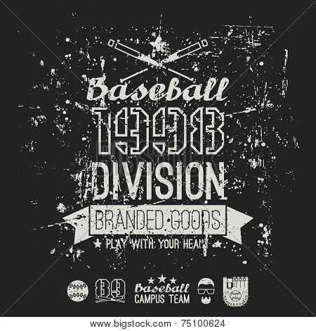 Retro Emblem Baseball Division Of College