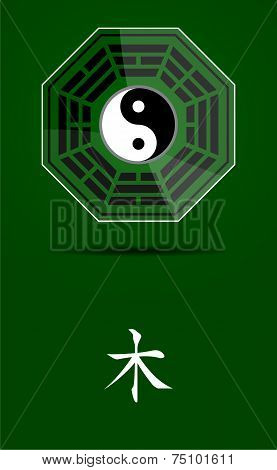 Bagua Yin Yang Symbol With Wood Element.