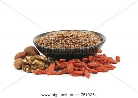 Linseed In A Bowl With Nuts And Goji Berries