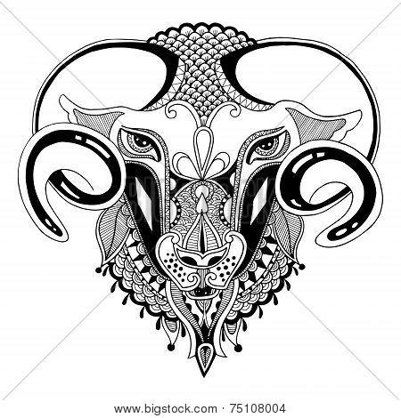 head goat symbol of 2015 year