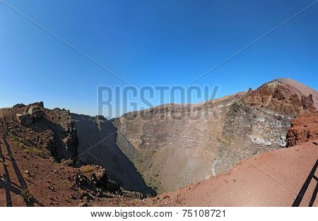 The Crater Of Mount Vesuvius Near Naples, Italy