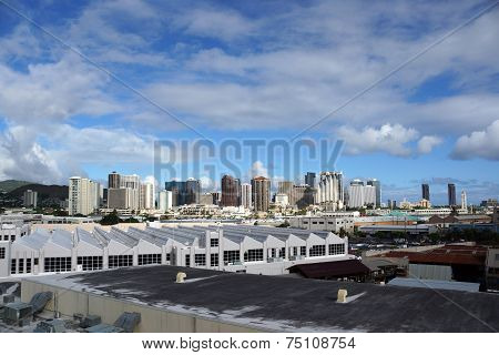 Aerial View Of The Honolulu Port And Downtown Skyline