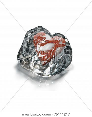 Red Heart In Ice Cube