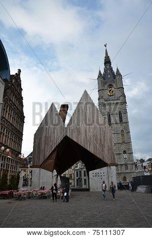 City Market Hall With Belfry Of Ghent, Belgium