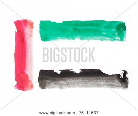 United arab emirates flag colors. Bold brush strokes vector illustration.