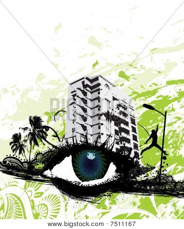 Vector illustration of urban retro styled background