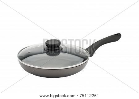 Fry pan with glass cover isolated on a white background