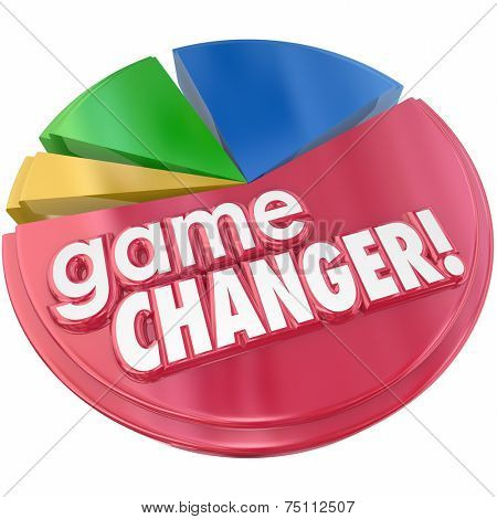 Game Changer words in 3d letters on a pie chart to illustrate increased competition and growing market share due to a change in business plan or model