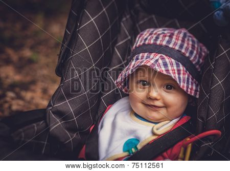 Baby boy in a pushchair