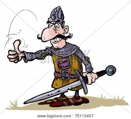 Cartoon warrior .