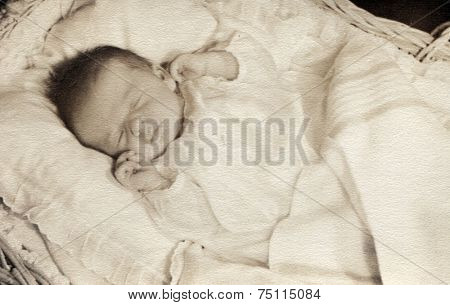 CANADA - CIRCA 1940s: Vintage photo shows baby in his crib.