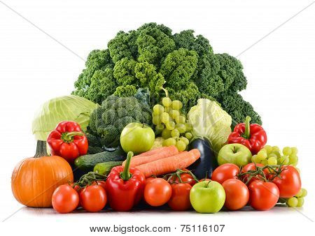 Assorted Raw Organic Vegetables Isolated On White