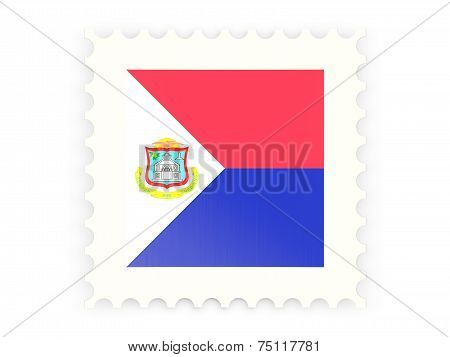 Postage Stamp Icon Of Sint Maarten