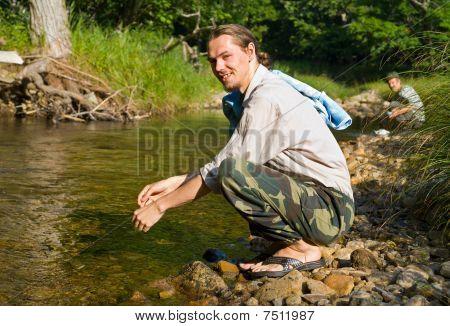 Washing Young Man