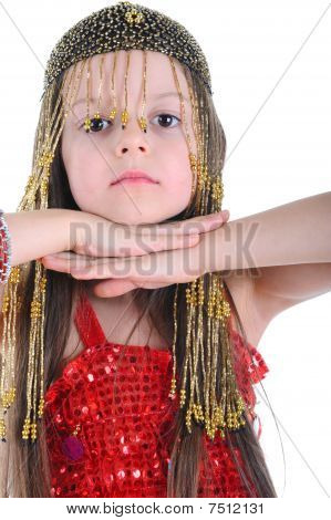 Little Girl In The Cap Of Beads