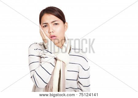 Beautiful Asian Girl With Scarf Got Toothache