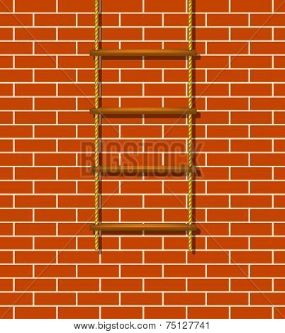 Wooden rope ladder and brick wall
