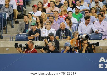 Professional photographers at US Open 2014 at Billie Jean King National Tennis Center