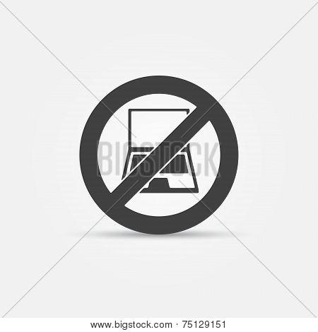 No computers black vector sign