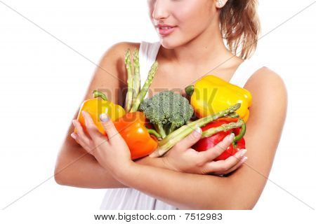 Woman And Vegetables