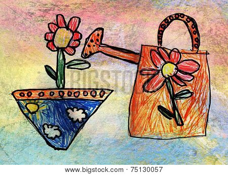 Children's Drawing Of Watering-can With Flower